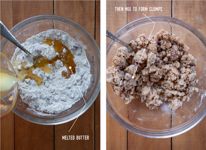 Left image is melted butter being added to the crumb toppings ingredients in a bowl. Right image is the crumb topping with everything mixed in a bowl.