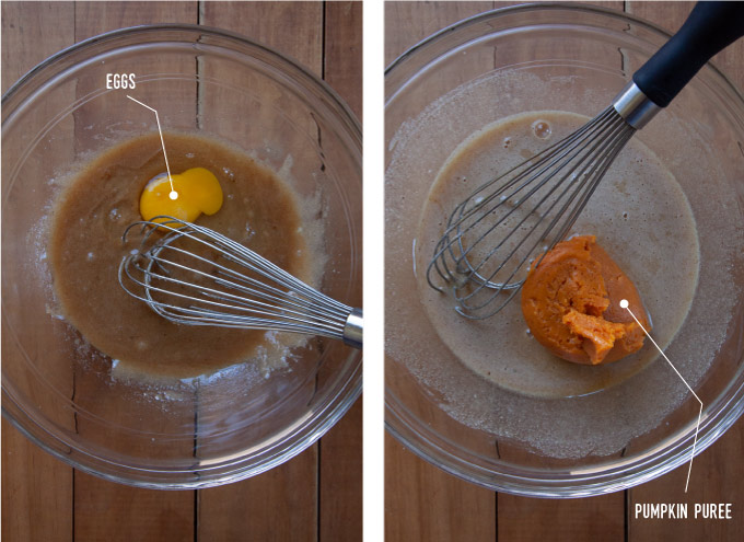 Left image is an egg added to the cake batter in a bowl with a whisk. Right image is pumpkin puree added to the cake batter in a bowl with a whisk.