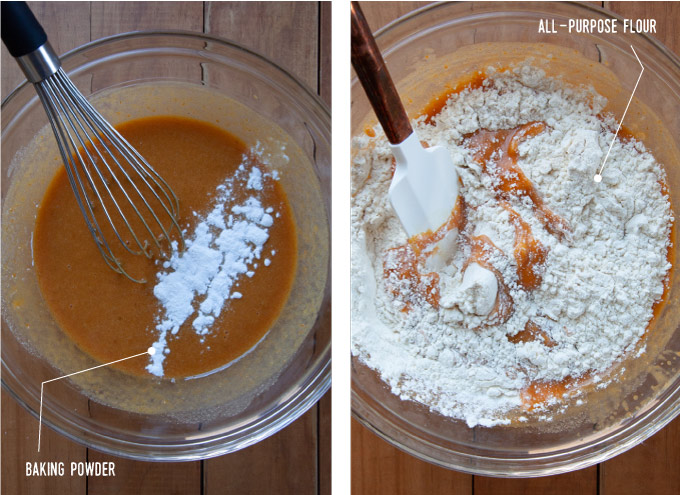Left image is baking powder added to the cake batter in a bowl with a whisk. Right image is a spatula folding in all-purpose flour into the cake batter in a bowl