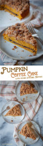 This pumpkin coffee cake has a pecan streusel topping and is easy-to-make but looks and tastes like it came from a professional bakery or coffee shop! #pumpkin #coffeecake #pecan #recipe #baking #autumn #fall #winter #pumpkinspice