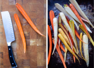 Left image is a carrot split in lengthwise on a cutting board with a knife. Right image is rainbow carrots split in half on a baking sheet.