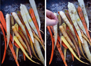 Left image is rainbow carrots drizzled with olive oil. Right image is a hand sprinkling za'atar spices over rainbow carrots.