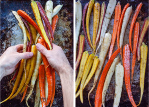 Left image is hands tossing carrots together to coat with olive oil and spices. Right image is carrots coated with olive oil and spices in a single layer on a rimmed baking sheet.