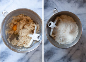Left image is an egg added to the cookie batter. Right image is flour added to the cookie batter.