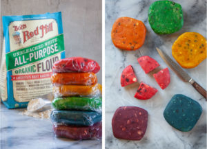 Left image is the colored dough wrapped in plastic in front of a bag of Bob's Red Mill flour. Right image is the cookie dough unwrapped, with one dough divided into 4.