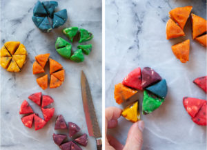 Left image is disks of dough cut into 6 pieces. Right image is a hand assembling a rainbow cookie.