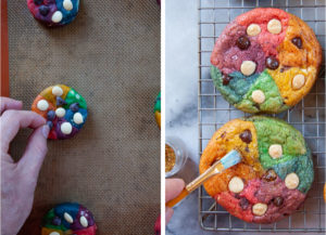 Left image is a hand adding chocolate to the cookie disk. Right image is a brush adding edible glitter to the baked cookie.