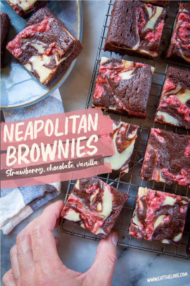 Neapolitan Cheesecake Brownies (Strawberry, Vanilla, and Chocolate)